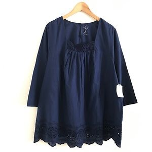 NWT Navy Top Blouse Shirt lace size 2X